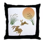 Moon, japanese pampas grass and rabbi Throw Pillow