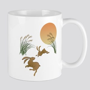 Moon, japanese pampas grass and 11 oz Ceramic Mug
