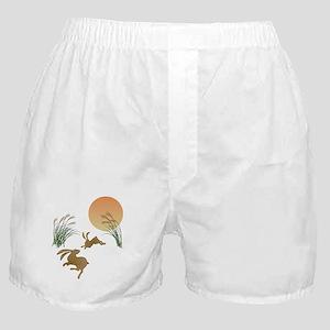 Moon, japanese pampas grass and rabbi Boxer Shorts