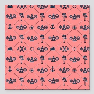"Phi Delta Theta Coral Pa Square Car Magnet 3"" x 3"""