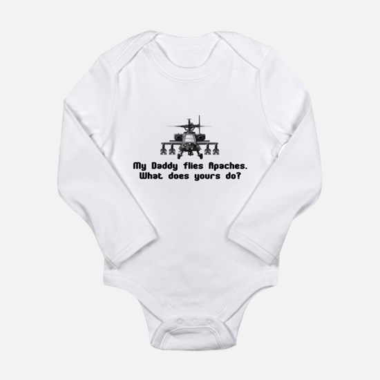Daddy Flies Apaches Long Sleeve Infant Bodysuit