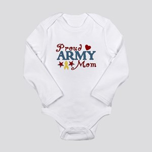 Proud Army Mom Collage Long Sleeve Infant Bodysuit