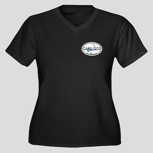 Cape Cod MA - Oval Design Women's Plus Size V-Neck