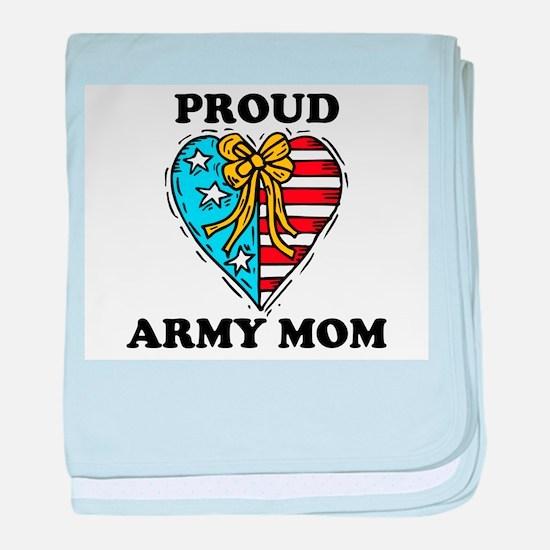 Army Mom Patriotic Heart baby blanket