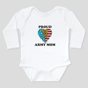 Army Mom Patriotic Heart Long Sleeve Infant Bodysu