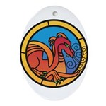 Medieval Stained Glass Dragon Oval Ornament