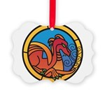 Medieval Stained Glass Dragon Ornament