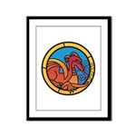 Medieval Stained Glass Dragon Framed Panel Print
