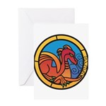 Medieval Stained Glass Dragon Greeting Cards