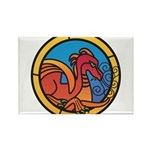 Medieval Stained Glass Dragon Magnets