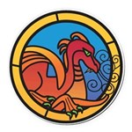 Medieval Stained Glass Dragon Round Car Magnet
