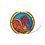 Medieval Stained Glass Dragon Oval Car Magnet