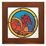 Medieval Stained Glass Dragon Framed Tile