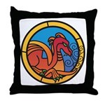 Medieval Stained Glass Dragon Throw Pillow