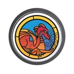 Medieval Stained Glass Dragon Wall Clock