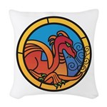 Medieval Stained Glass Dragon Woven Throw Pillow