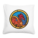 Medieval Stained Glass Dragon Square Canvas Pillow