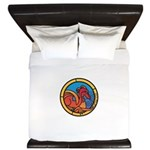 Medieval Stained Glass Dragon King Duvet