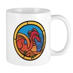 Medieval Stained Glass Dragon Mugs