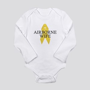 Airborne Wife Ribbon Long Sleeve Infant Bodysuit
