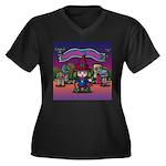 Horror night Women's Plus Size V-Neck Dark T-Shirt