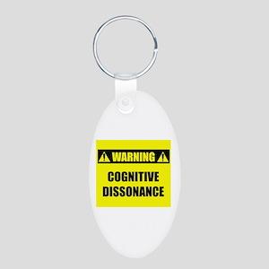 WARNING: Cognitive Dissonance Aluminum Oval Keycha