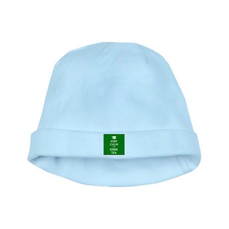 Keep Calm & Drink Tea (Green) baby hat