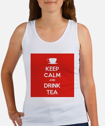 Keep Calm & Drink Tea (White on Red) Women's Tank