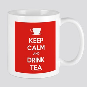 Keep Calm & Drink Tea (White on Red) Mug