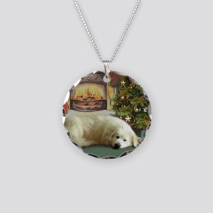 Great Pyrenees Christmas Necklace Circle Charm