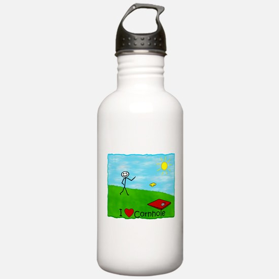 """Stick Person<br> I """"Heart Cor Water Bottle"""