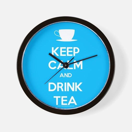 Keep Calm & Drink Tea (Light Blue) Wall Clock