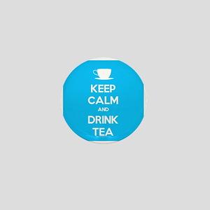 Keep Calm & Drink Tea (Light Blue) Mini Button