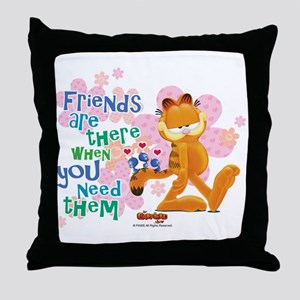 """Friends Are There"" Garfield Throw Pillow"