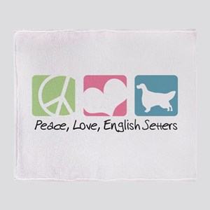 Peace, Love, English Setters Throw Blanket