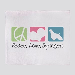 Peace, Love, Springers Throw Blanket