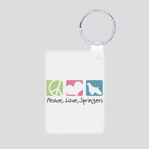 Peace, Love, Springers Aluminum Photo Keychain