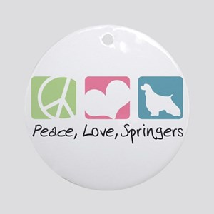 Peace, Love, Springers Ornament (Round)