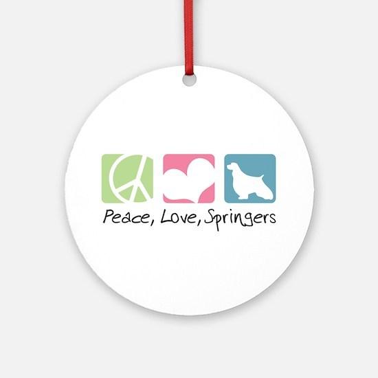 Peace, Love, Springers Ornament (Round)