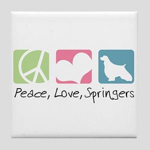 Peace, Love, Springers Tile Coaster