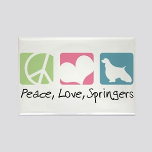 Peace, Love, Springers Rectangle Magnet