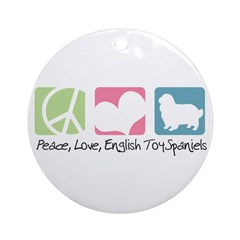 Peace, Love, English Toy Spaniels Ornament (Round)