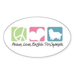 Peace, Love, English Toy Spaniels Sticker (Oval)