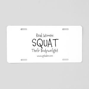 Real Women Squat Aluminum License Plate