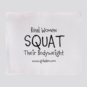 Real Women Squat Throw Blanket