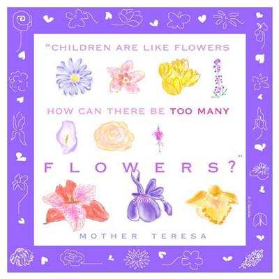 Small Mother Teresa Floral Pro Life Poster