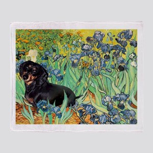 Irises & Dachshund (BT4) Throw Blanket