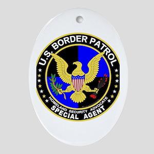 US Border Pattrol SpAgent Oval Ornament