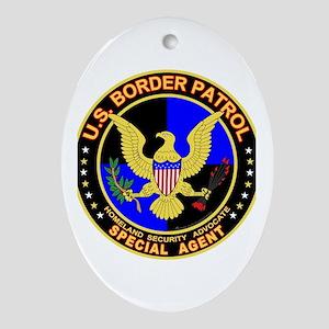 US Border Patrol SpAgent Oval Ornament