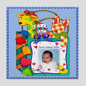 Blue Personalized Giraffe Tile Coaster - Custom